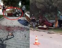 İSMET İNÖNÜ - Eskişehir'de feci kaza: Araç ikiye bölündü