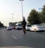 BOSTANCı - Bostancı Sahil Yolunda Tek Tekerlek Üzerinde Şov Yapan Motorcu Kamerada