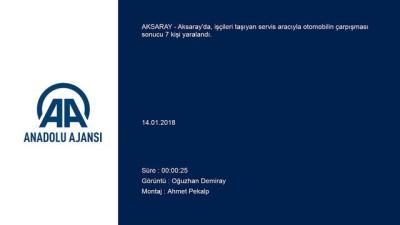 Aksaray'da İşçi Servisi İle Otomobil Çarpıştı Açıklaması 7 Yaralı
