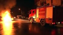 Patlak Lastikle İlerleyen Otomobil Alev Aldı