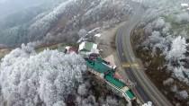 GÜZELDERE ŞELALESİ - Bolu Dağı'nın Kar Manzarası Havadan Görüntülendi