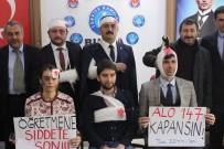 HAKKANIYET - Kalbine Bıçak Saplanan Ve Kafasında Baltayla Gezen Öğretmenler Eylem Yaptı