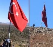 ASKERİ ARAÇ - Köylüler Afrin Sınırına Dev Türk Bayrağı Astı