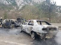 Bursa'da İki Otomobil Alev Alev Yandı, Faciadan Dönüldü Açıklaması 8 Yaralı
