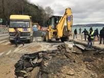 KIREÇBURNU - Sarıyer'de Sahil Yolu Çöktü
