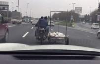E5 KARAYOLU - E5 Karayolunda Motosiklet Sürücüsü Tehlike Saçtı