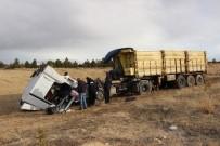 Karaman'da Şarampole İnen Tırın Sürücüsü Ölümden Döndü