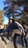 NECMETTIN CEVHERI - Seyir Halindeki Motosiklete Tutunan Patenli 2 Gencin Tehlikeli Yolculuğu