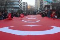 Sarıkamış Harekatı'nı Dev Türk Bayrağı Taşıyarak Andılar