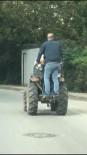 Traktörle Tehlikeli Yolculuk Kameraya Yansıdı