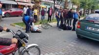 DİKKATSİZLİK - Motosiklet İle Bisiklet Çarpıştı, 2 Kişi Yaralandı