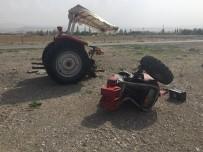 GÜNEŞLI - Traktörün İkiye Bölündüğü Kazada Sürücü Ağır Yaralandı