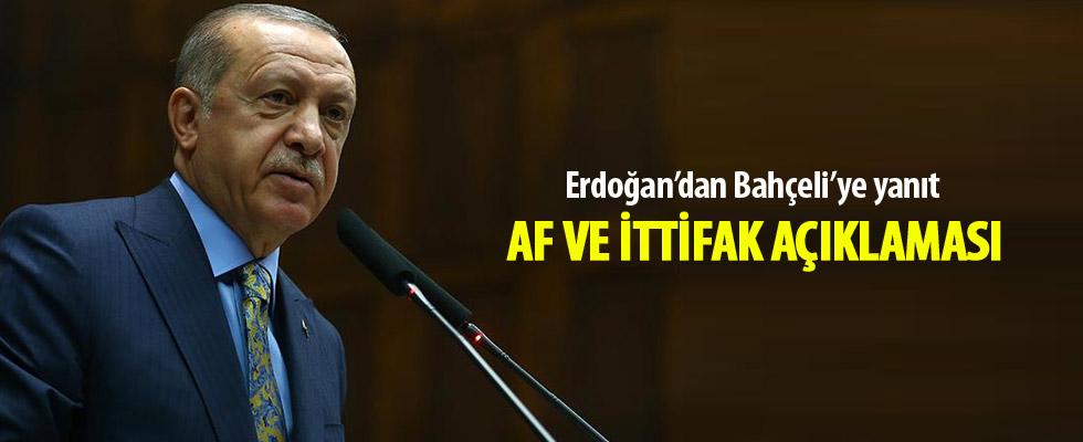 Erdoğan'dan ittifak ve af açıklaması