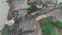 Trabzon'un Araklı İlçesinde Yaşanan Selin Boyutu Havadan Görüntülendi