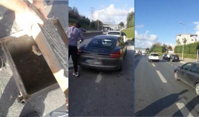 TEM'de 'rögar kapağı' kazası