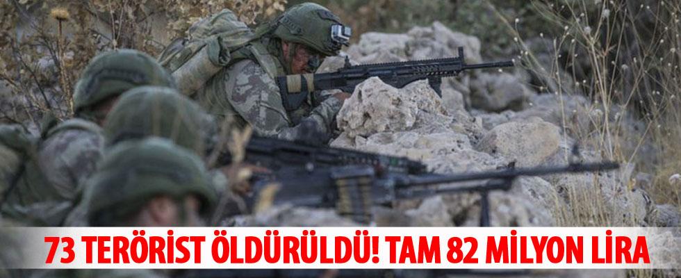 82 milyon lira ödüllü 73 terörist etkisiz hale getirildi
