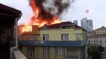 DAR SOKAKLAR - Şişli'de 9 Katlı Binanın Çatısı Alev Alev Yandı