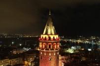 KIZ KARDEŞ - Galata Kulesi 'Kadına Şiddete Hayır' Demek İçin Turuncu Yanıyor
