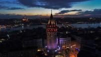 GALATA KULESI - Işıklandırılan Tarihi Yapılar Havadan Görüntülendi