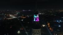 GALATA KULESI - (Özel) İstanbul'un Işıklandırılan Tarihi Yapıları Havadan Görüntülendi