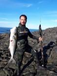 Zıpkınla Avladı Açıklaması 65 Santim Boyunda, 6 Kilo Ağırlığında