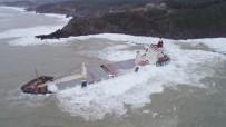 (Özel) Şile'de Karaya Oturan Gemi Dev Dalgalarla Boğuşuyor