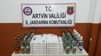 Artvin'de 600 Paket Kaçak Sigara Ve 26 Litre İçki Ele Geçirildi
