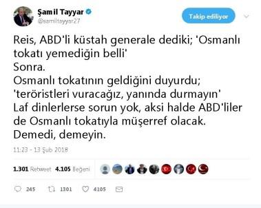 Şamil Tayyar'dan, Erdoğan'ın 'Osmanlı Tokadı' Cevabına Destek