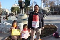 Denizli'de Bir Baba 2 Kızı İle 'Sessiz Çığlık' Eylemi Yaptı