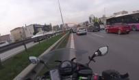 E-5 KARAYOLU - Otomobilin Sıkıştırdığı Motosikletli Böyle Kaza Yaptı