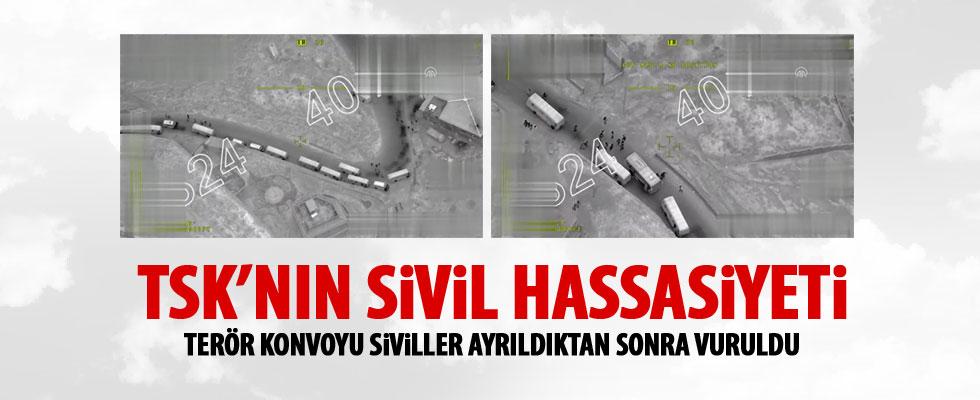 TSK, mühimmat konvoyunu sivillerden ayırıp vurdu - AFRİN