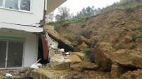 AVSALLAR - İstinat Duvarı Apartmanın Üzerine Çöktü