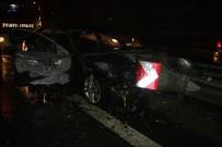 KEMERBURGAZ - Kaza Yapan Lüks Araç Yandı