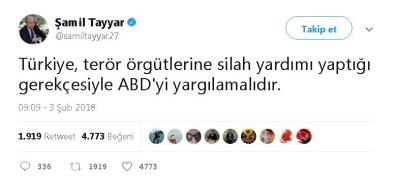 Tayyar'dan 'ABD'ye Afrin Tepkisi