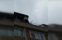 Çatıdaki Tehlikeli Çalışma Kamerada