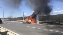 ASLANTEPE - TEM'de Otomobil Alev Alev Yandı