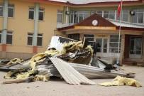 KÜRKÇÜLER - Bolu'da Şiddetli Rüzgar Okulun Çatısını Uçurdu