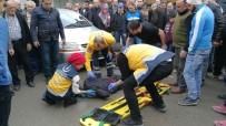 Otomobile Çarpan Motosiklet Sürücüsü Yaralandı