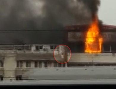 Çıkan yangından korktu camdan böyle atladı!