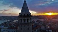 GALATA KULESI - Galata Kulesi gün batımında havadan görüntülendi