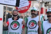 Şeker İşçileri Ağızlarını Bantla Kapatarak Eylem Yaptı