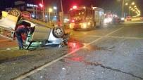 ZEYTINLI - Direksiyon Hakimiyetini Kaybeden Araç Direğe Çarptıktan Sonra Ters Döndü Açıklaması 4 Yaralı