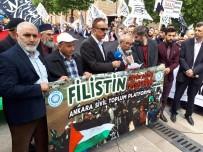 HACI BAYRAM - Yüzlerce Kişi Filistinlilere Destek İçin Hacı Bayram Camii'nde Bir Araya Geldi