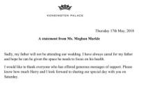 PRENS HARRY - Kensington Sarayı Doğruladı Açıklaması 'Meghan Markle'ın Babası Düğüne Katılmayacak'