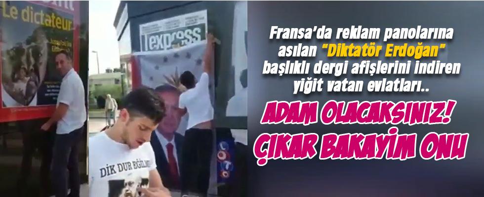 Skandal afişleri indirdiler Erdoğan'ın afişini astılar