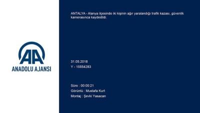Antalya'da İki Kişinin Yaralandığı Kaza Güvenlik Kamerasında