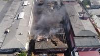 Yangın Nedeniyle Çatısı Ve Duvarları Çöken İş Merkezi Havadan Görüntülendi