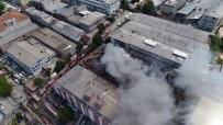 Zeytinburnu'nda İş Merkezinde Çıkan Yangının Son Hali Havadan Görüntülendi