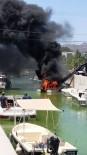 BAĞLAMA - Denize İndirilen Tekne Alev Alev Yandı