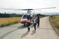 Yaralanan Çocuk İçin Helikopter Ambulans Yola İndi